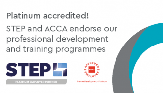 We've been awarded platinum employer accreditation from STEP and ACCA